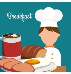 breakfast chef cooking delicious egg bread vector image vector image