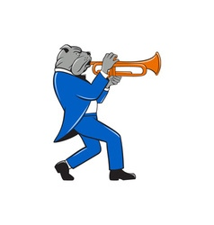 Bulldog blowing trumpet side view cartoon vector