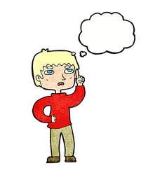 Cartoon boy with question with thought bubble vector