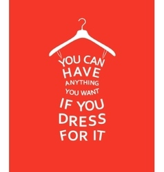 Fashion women dress with quote on red background vector