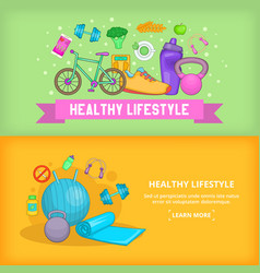 fitness banner set template cartoon style vector image