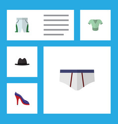 Flat icon dress set of underclothes heeled shoe vector