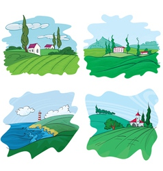 Four landscape vector
