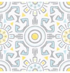 Grey blue yellow tribal seamless pattern vector