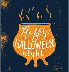 Halloween design with pot silhouette and lettering vector