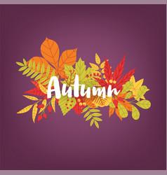 Hand written calligraphic word autumn against vector