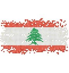 Lebanese grunge tile flag vector