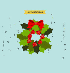 New year wreath with red christmas tree vector