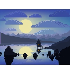Night mountain lake landscape vector image vector image
