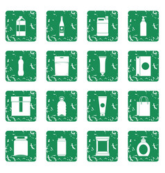 Packaging items icons set grunge vector