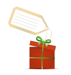 red gift box with green ribbon and tag isolated on vector image vector image