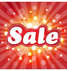 Red sale poster with sunburst vector