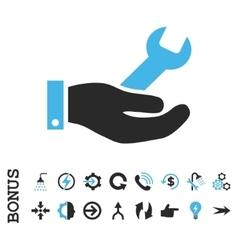 Repair service flat icon with bonus vector