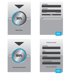 Round progress bar and register log in web element vector image