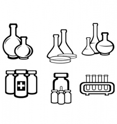 science and medical flasks vector image