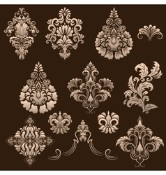 set of damask ornamental elements vector image vector image