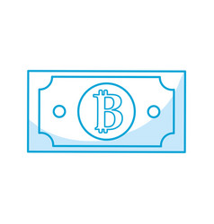 Silhouette digital bitcoin bill and electronic vector