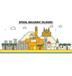 spain balearis islands city skyline architecture vector image vector image