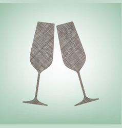 sparkling champagne glasses brown flax vector image