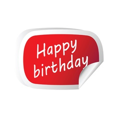 sticker red with happy birthday message vector image