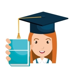 Student character with hat graduation and book vector
