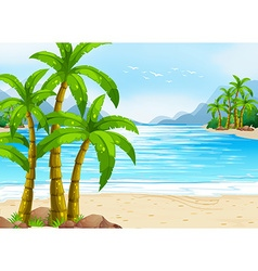 Summer theme with beach and ocean vector