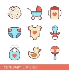Toddler accessories icons vector