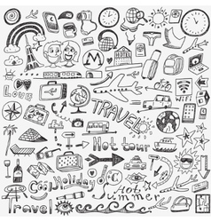Travel doodles sketch icons vector