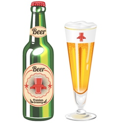 Glass of beer and bottle vector