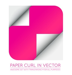 Color paper page curl with shadow isolated vector