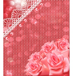 card with pink roses and lace vector image
