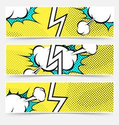 Modern pop art style divided header set vector