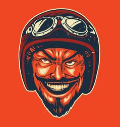 Hand drawing of devil wearing motorcycle helmet vector