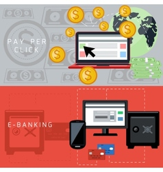 E-banking and pay per click cards vector