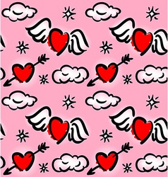 Pattern with hearts and clouds vector