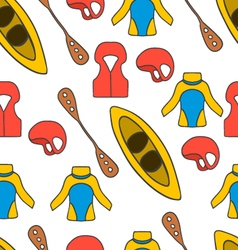 Seamless pattern with equipment for kayaking-6 vector