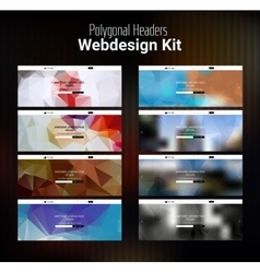Blurred polygonal website header kit vector