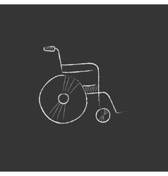 Wheelchair drawn in chalk icon vector
