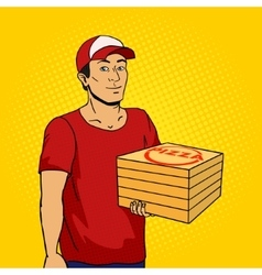Pizza delivery guy pop art vector
