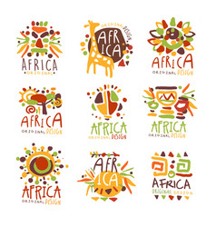 Africa set for logo original design travel to vector