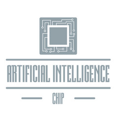 artificial intelligence logo simple gray style vector image vector image