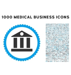 Bank Icon with 1000 Medical Business Symbols vector image vector image