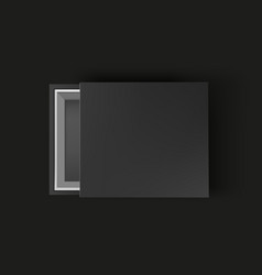 black empty box mock up on black background top vector image vector image