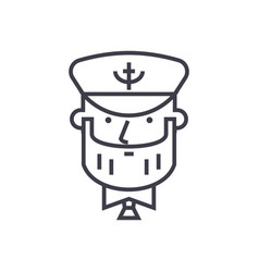 captain with nautical hat concept thin line vector image vector image