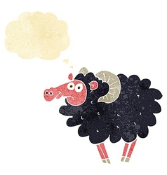 cartoon black sheep with thought bubble vector image