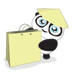 cartoon panda with bag vector image vector image