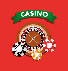 casino roulette wheel chips gamble symbol vector image