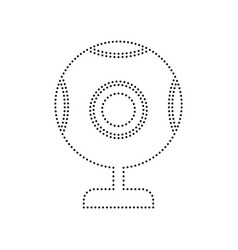 Chat web camera sign black dotted icon on vector