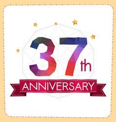 Colorful polygonal anniversary logo 2 037 vector