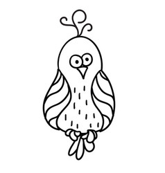cute cartoon bird with black contour vector image vector image